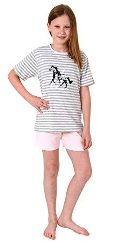 Süsser Mädchen Shortie Pyjama Kurzarm Schlafanzug mit Pferde Motiv - 102 405 10 801, Farbe:rosa, Größe:158/164