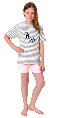 Süsser Mädchen Shortie Pyjama Kurzarm Schlafanzug mit Pferde Motiv - 102 405 10 801, Farbe:rosa, Größe:146/152
