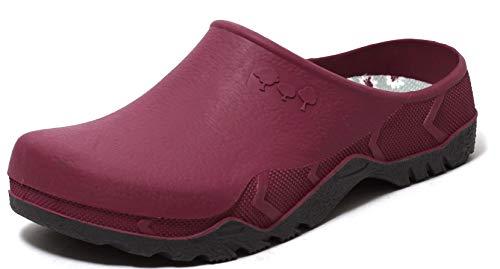 ZAPATO EUROPE Damen Gartenclogs Schuhe Slipper Freizeitclogs mit herausnehmbarer Einlegesohle Beere (Numeric_39)