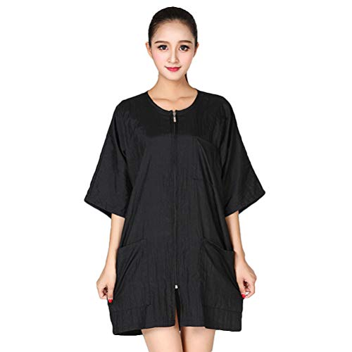 Lurrose Salon Smocks for Clients Short Sleeve Barbers Waterproof Cape Hairdressing Cape Nylon Makeup Cape with Zipper (Black)