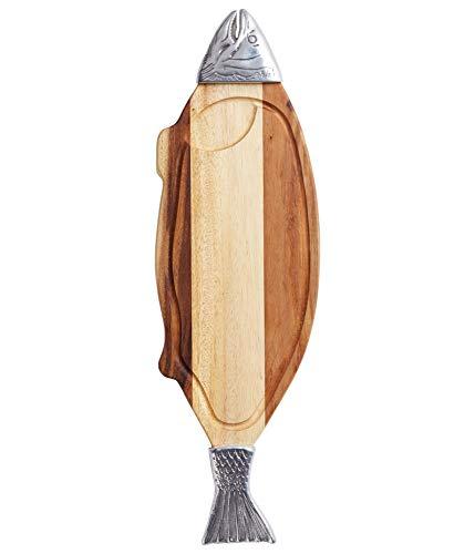 Kitchen Craft Master Class Fisch-Servierplatte Akazien mit Metallverzierung, Holz, Beige/braun/Silber, 68 x 22 x 4.8 cm