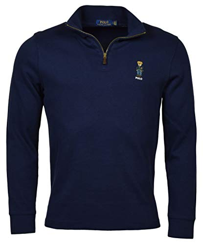 Polo Ralph Lauren Men's 1/4 Zip Pullover Polo Bear French Rib Sweater (Navy, X-Large)