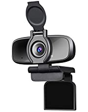 Dericam 1080P Webcam with Microphone and Privacy Cover, Web Cam USB Camera, Computer HD Streaming Webcam for PC, Desktop, Laptop with Mic for Conference, Online Chatting and Live Streaming