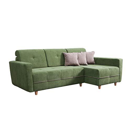 MOEBLO Ecksofa Sofa für Wohnzimmer Couch Eckcouch mit Bettkasten und Schlaffunktion - Skandinavisch Still - Tucson New (Grün, Ecksofa Rechts)