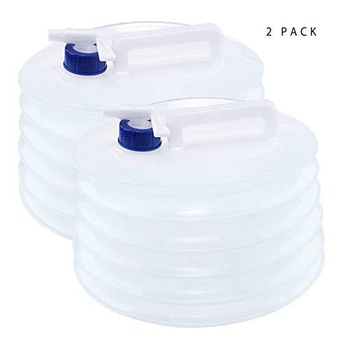 2 Piezas 5-Litros Bidon de Agua con Grifo, Portátil y Plegable - Resistente, Sin BPA - Contenedores de Agua, Deposito de Agua para Camping Acampada Senderismo Escalada y Actividades al Aire Libre.