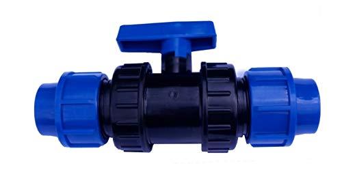 EXCOLO PE Rohr Kugelhahn 20 bis 40 mm Kunststoff Hahn Absperrhahn Sperrschieber Kugelventil Ventil 2 Wege (Für 32 mm PE Rohr)