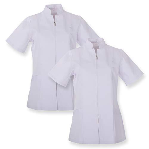 MISEMIYA - Pack*2 - Casaca Mujer Cierre Cremallera Manga Corta Uniforme Doctora Uniforme- Ref.829 - XL, Blanco