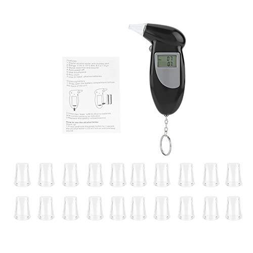 KIMISS Digital LCD Bildschirm Alkohol Atem Tester tragbare Keychai Atem Analysator mit 10/20/50/ PC Mundstücken Alkoholtester(Mit 20 Atemdüsen)