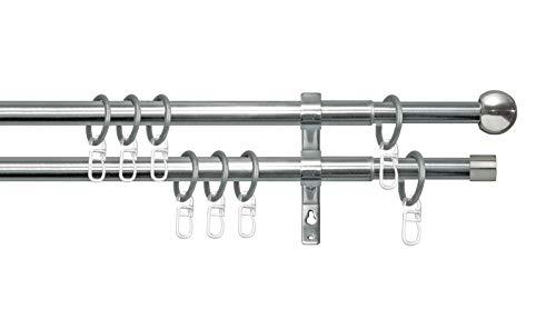 GARESA Gardinenstangen, Metall, Edelstahl-Optik/Chrom, 160 cm