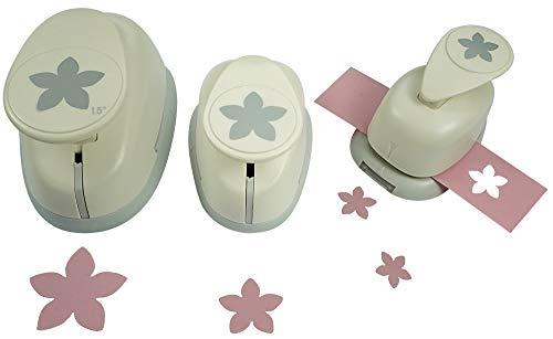 Motivstanzer Set A68193 Blüte, 3 STK, Kunststoff, weiß, 1,6cm, 2,54cm, 1x 3,81cm