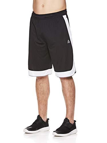 Reebok Men's Mesh Basketball Gym & Running Shorts w/Elastic Drawstring Waistband & Pockets - Dunk Shot Black, Small