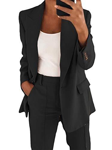 Onsoyours Blazer para Mujer Elegante Mangas Largas Chaqueta de Traje con Botones Dorados Corte Slim de Negocio Oficina Color Sólido Negro L