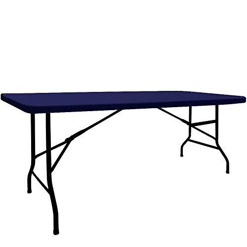 HAORUI Spandex 4ft Elastic Tablecloth for Trade Shows Parties Banquet Navy Blue