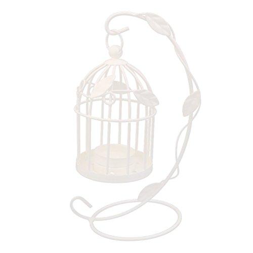 Leorx, porta candela a forma di gabbia per uccelli, in stile vintage, colore bianco