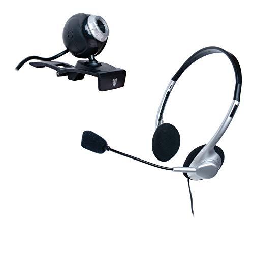 Webcam USB für PC / Desktop und Notebook Webcamera mit Headset und Mikrofon für Videoanrufe Skype Hangouts Videokonferenz VoIP VGA Kamera