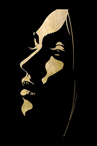 Queence | Acrylglasbild mit Blattgold | Wandbild Glasbild Acrylbild Rahmenlos | Gesichts-Silhouette | Druck auf Acrylglas | Goldveredelung | Größe: 40x60 cm