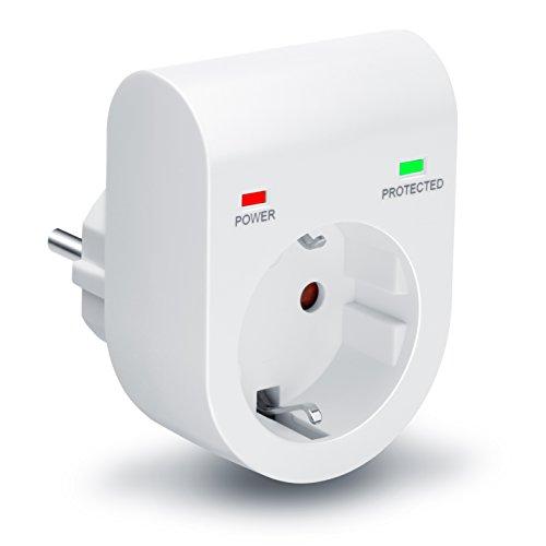Arendo - Premium Überspannungsschutzadapter - Schuko Schutz-Adapter - Blitzschutz - bis zu 3500 W - IP 20 - integrierter Berührungsschutz - Überspannungsschutz mit LED-Funktionsanzeige
