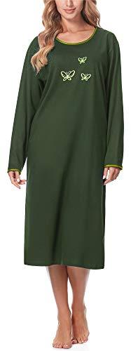 Merry Style Camisón Ropa de Cama Vestidos de Casa Manga Larga Mujer 91LW1 (Verde Oscuro (Manga Larga), S)