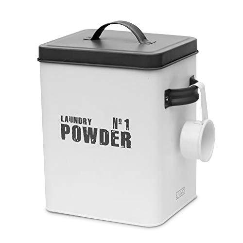Livivo Aufbewahrungsbox aus emailliertem Metall, Grau / Weiß Waschpulver