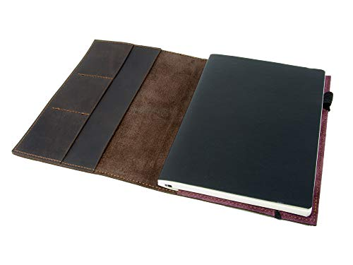 Leather Journal Leuchtturm1917 Medium A5 (5.75'x8.25') Softcover Notebook Travel Journal Cover Distressed Leather Refillable Writing Diary with Elastic Closure (Brown Nut Case)
