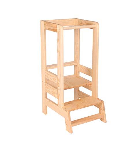 [Angelove] [Montessori Learning Tower] [Ayudante de Cocina para Niños Taburete de Madera] [Natural]