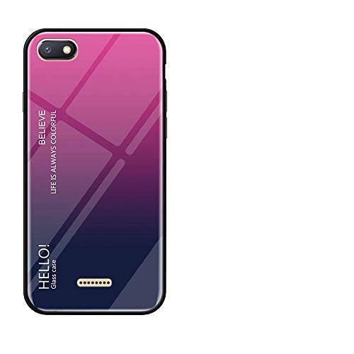 BestCatgift Glare Series Redmi 6A Phone Cover Accessories [Glass Shell][Gradient Funda] Bumper Shockproof para Xiaomi Redmi 6A - Yellow-Pink