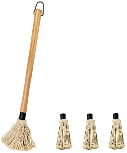 Censmart 18 Inch BBQ Basting Mop 3 Extra Replacement Heads with Natural Wood Handle and Cotton Head for Roasting or Grilling, Apply Barbecue Sauce, Marinade or Glazing,Dish Mop Style