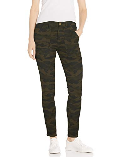 Daily Ritual Stretch Cotton/Lyocell Zip-Pocket work-utility-pants, Olive Camo, US 8 (EU M)