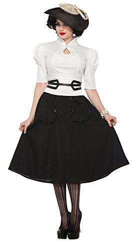 Forum Novelties X76865 76865 blouse in de stijl van de jaren '40, wit, UK 10-12