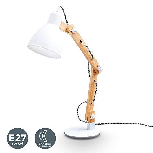 B.K.Licht | LED Schreibtischlampe aus Naturholz I Weiß | verstellbare Tischleuchte mit Schalter I Leselampe I Tischlampe I Nachttischlampe I Holzlampe I ohne Leuchtmittel