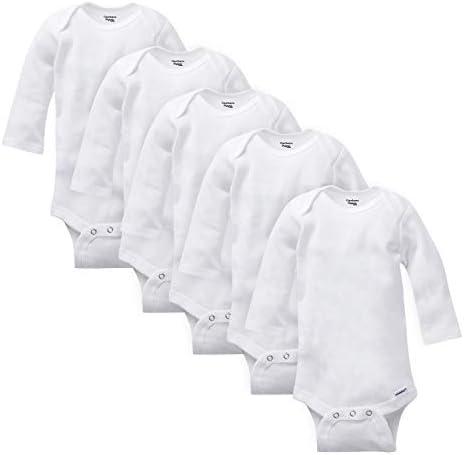 GERBER Baby 5 Pack Organic Long Sleeve Onesies Bodysuit White Newborn product image