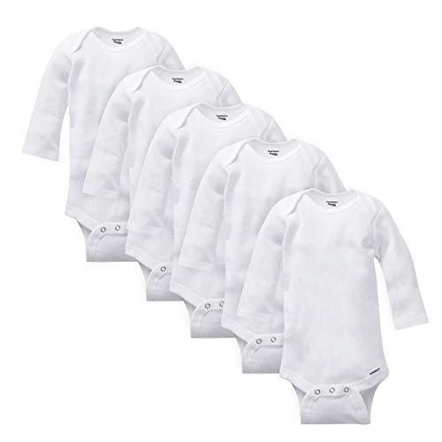 Gerber Baby 5-Pack Organic Long-Sleeve Onesies Bodysuit, white, 12 Months