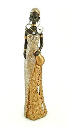 Lifestyle & More Moderne Skulptur Dekofigur Frau Afrikanerin Gold/braun Höhe 24 cm
