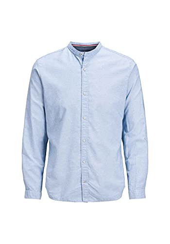 JACK & JONES JJESUMMER Band Shirt L/S S20 STS Camicia, Celeste, L Uomo