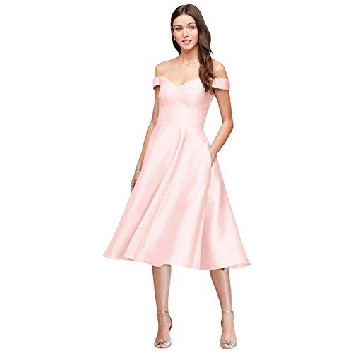 David's Bridal Off-The-Shoulder Tea-Length Bridesmaid Dress Style F19743, Petal, 0