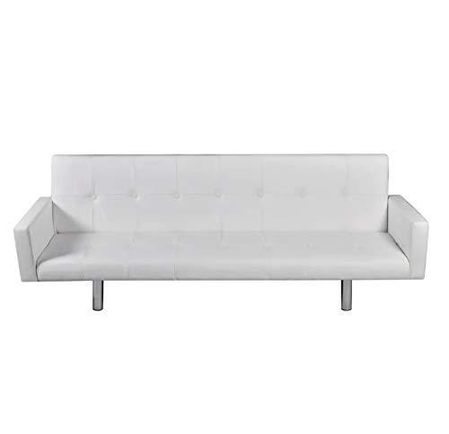 Zerone Sofá Cama con Reposabrazos, Sofá Cama 3 Plazas Diseño 2 en 1, Blanco 184 x 77 x 60-66 cm