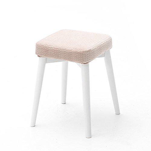 Peut être tabouret empilé, tabouret dressing fashion créatif, tabouret de table en tissu, petit banc à la maison, tabouret en bois massif, tabouret carré (Couleur : Lotus root pink)