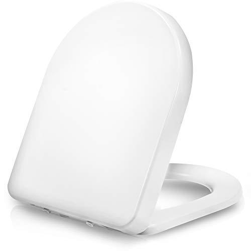 Dombach Senzano Toilettendeckel weiß D-Form • der innovative Premium WC-Sitz mit Absenkautomatik/Softclose - abnehmbar - Toilettensitz antibakteriell aus Duroplast - Klobrille