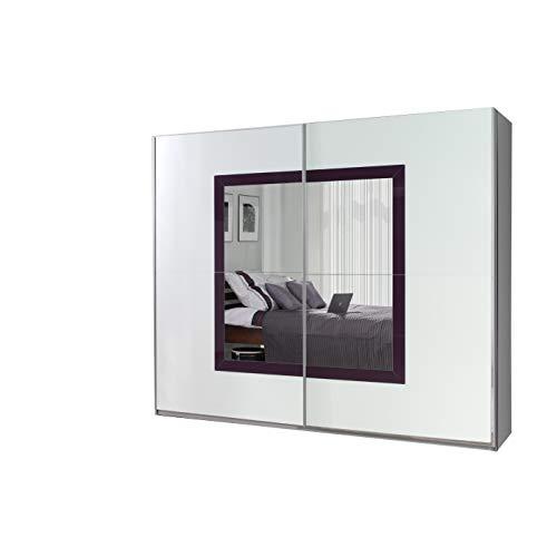 mb-moebel Kleiderschrank Schrank Garderobe Zweitürenschrank Schwebetürenschrank Schwebetüren 2-Türig Schlafzimmerschrank 244cm Maxi (Maxi 32 (Spiegel + Weiß Hochglanz + Lila Hochglanz))