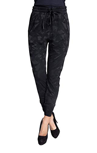 Coccara Damen Joggpant Stoffhose Anzugshose Tapered Cropped Slim Fit Mary, Größe:S, Farbe:CN9344-Black