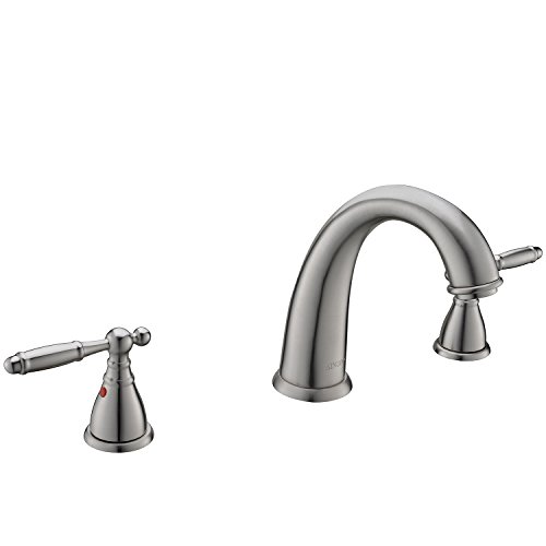 KINGO HOME Commercial Solid Brass Lavatory 3 Holes 2 Handles Lever Widespread Brushed Nickel Bathroom Faucet