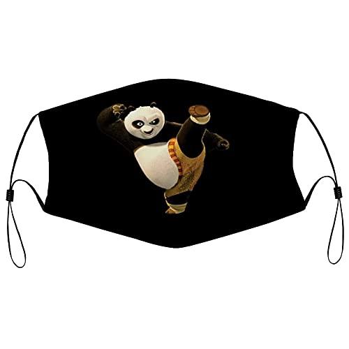 Hirola Kung Fu Panda Wiederverwendbare Tuch Gesichtsmaske Waschbare Gesichtsbedeckung Atmungsaktive Sportmaske Verstellbarer Hals Gaiter für Männer Frauen Outdoor