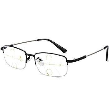 MWAH Multifocal Reading Glasses for Men Progressive Half Frame Titanium Alloy Blue Light Blocking Computer Reading Glasses No Line Multifocal Reading Glasses  Black 2.5 x