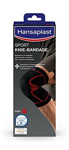 Hansaplast Sport Knie-Bandage, Kniebandage stabilisiert und unterstützt das Gelenk, Bandage mit Patella-Einlage hilft die Kniescheibe zu entlasten, Größe S/M