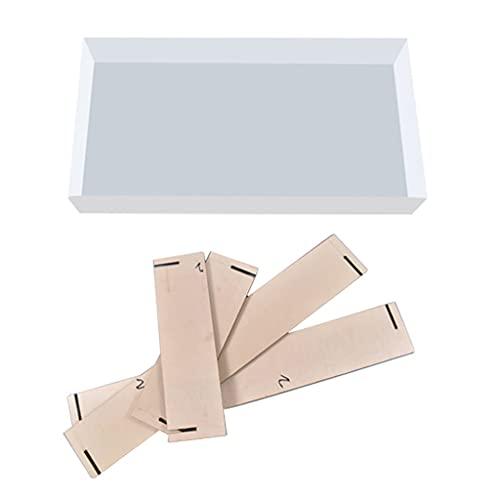 unknows Moldes de resina epoxi, moldes de silicona, tabla de flujo hecha a mano, forma rectangular de cristal epoxi para decoración principal.