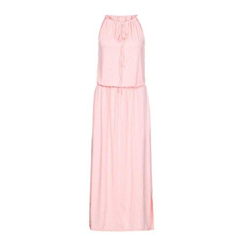 Keepwin Solid Neckholder Sommerkleid, Frauen Ärmelloses High Elasitc Taille Kleid Casual Split Saum Kleid (XL, Pink)