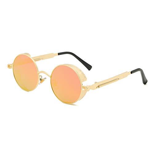 Red Peony Retro Sonnenbrille im runden, verspiegelten, polarisierenden Gläsern, runder Metallrahmen, für Frauen und Männer (Gold/Orange)