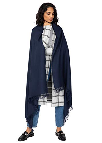 likemary Damen Schal Schultertuch aus 100% Merino Wolle - Poncho Stola XXL Tuch & Umschlagtuch - für Frauen - Kasa marineblau
