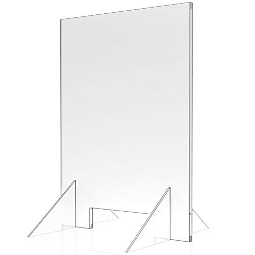 Sneeze Guard - 24' W x 30' T Acrylic Divider Protection Barrier Shield Checkout Counter Desk
