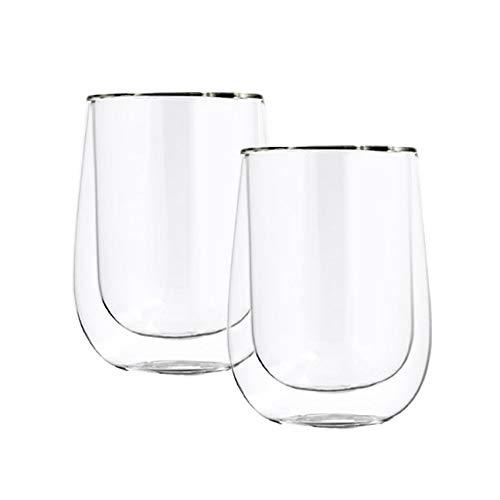 ana® - 2er Set doppelwandige Cappuccino Becher 230ml, Borosilikatglas (Ø8x10,5cm)